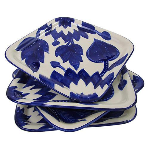 S/4 Jinane Square Plates, Cobalt Blue/White