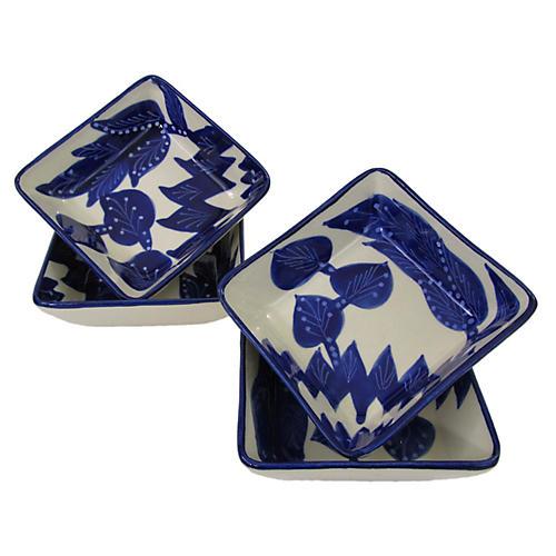S/4 Jinane Sauce Dishes, Cobalt Blue/White