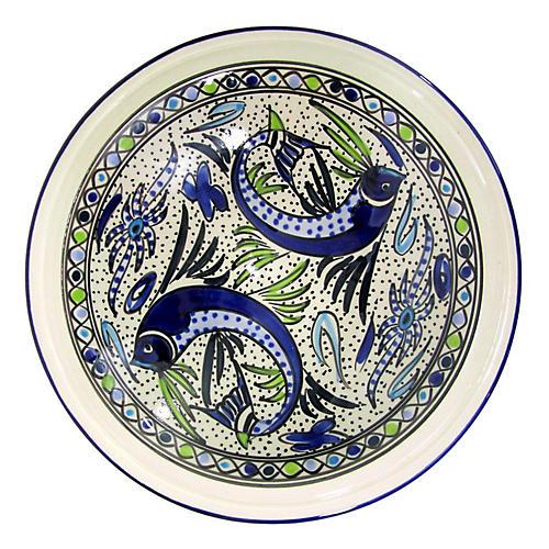 Aqua Fish Serving Bowl, Cobalt Blue