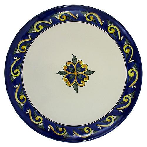 Riya Round Platter, Blue/White