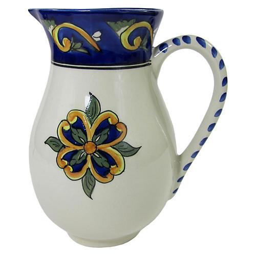 Riya Stoneware Pitcher, Blue/White