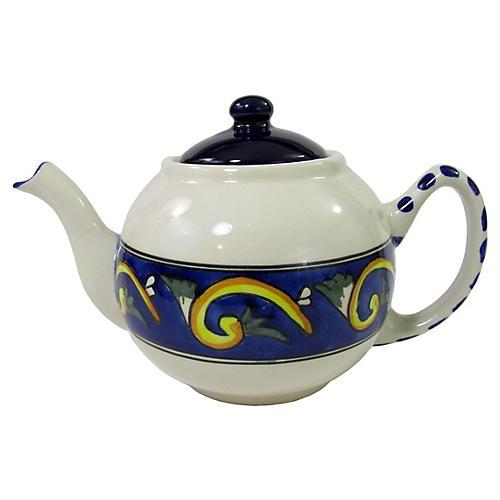 Riya Stoneware Teapot, Blue/White