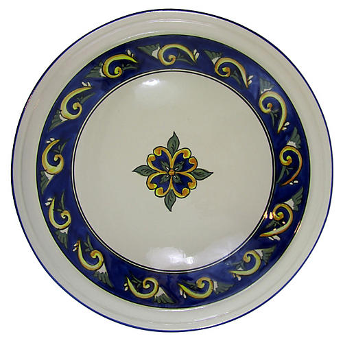 Riya Stoneware Serving Bowl, Blue/White