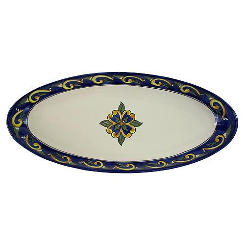 Riya Oval Platter, Blue/White