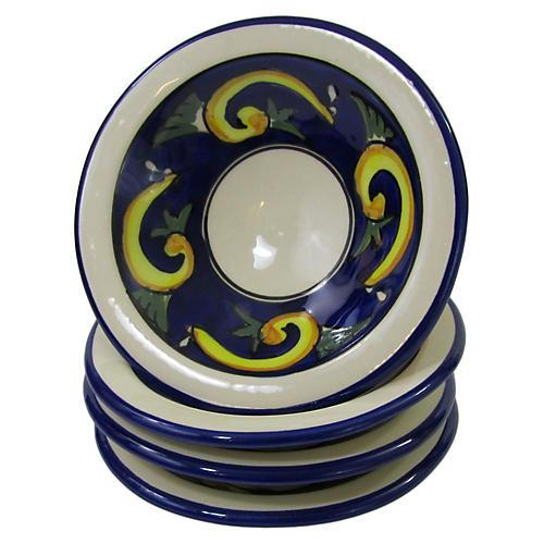 S/4 Riya Round Sauce Dishes, Blue/White
