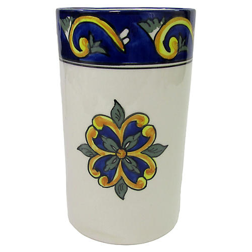 Riya Utensil Holder, Blue/White