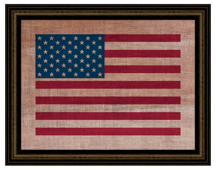 American Flag on Antique Burlap