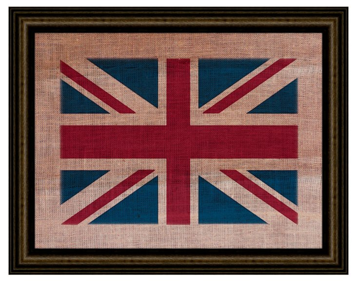 Union Jack on Antique Burlap