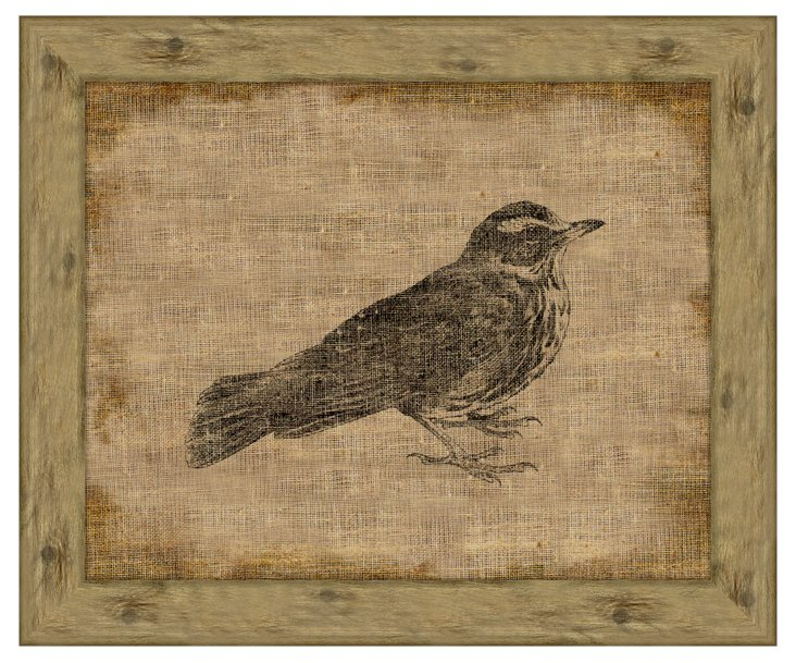 Redwing on Antique Linen