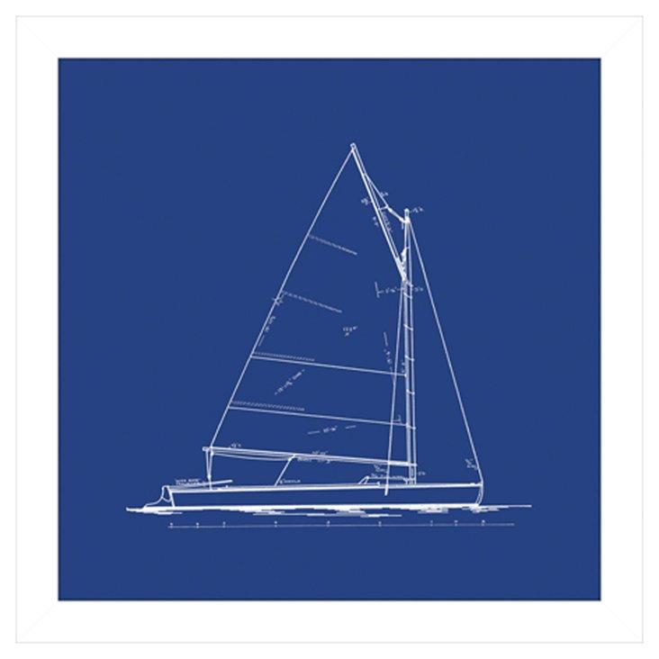 Sailboat Blueprint in Blue III
