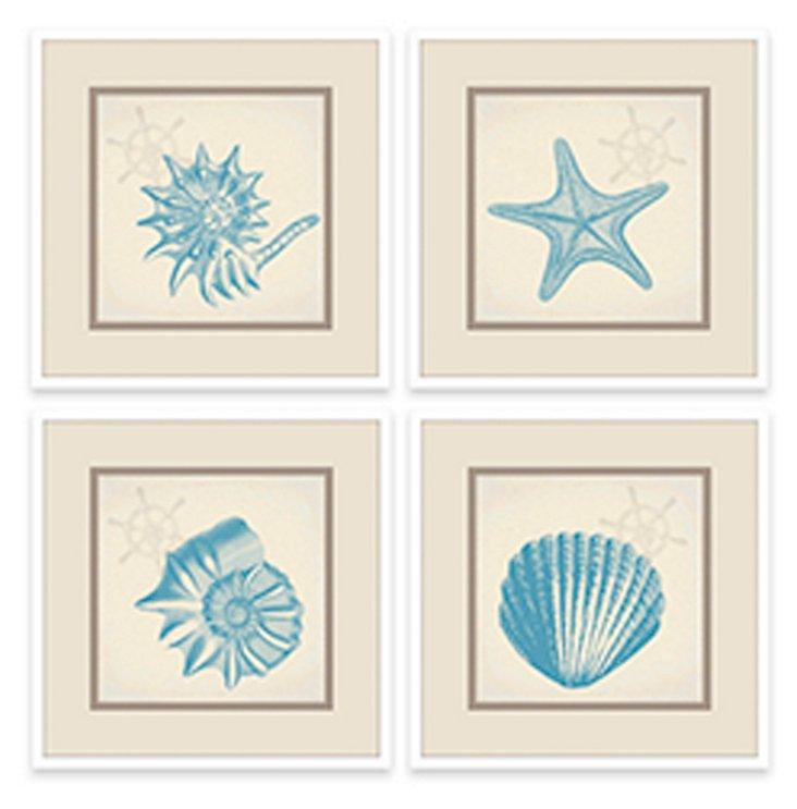 Tina's Shells In Sky Blue Set of 4