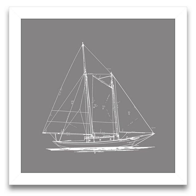 Sailboat Blueprint in Gray I
