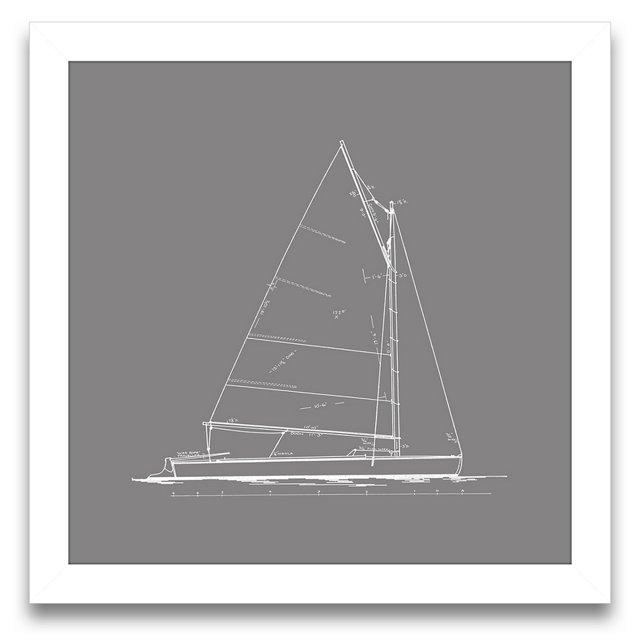 Sailboat Blueprint in Gray III