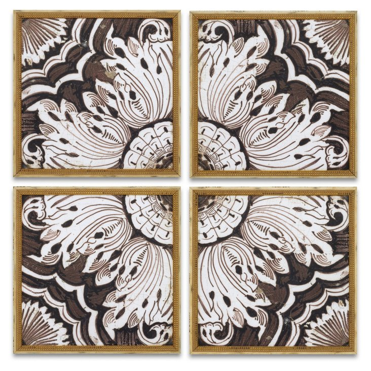 Byzantine Brown Tiles, Set of 4