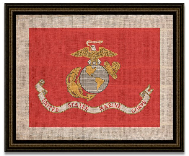 Marines Flag on Antique Burlap