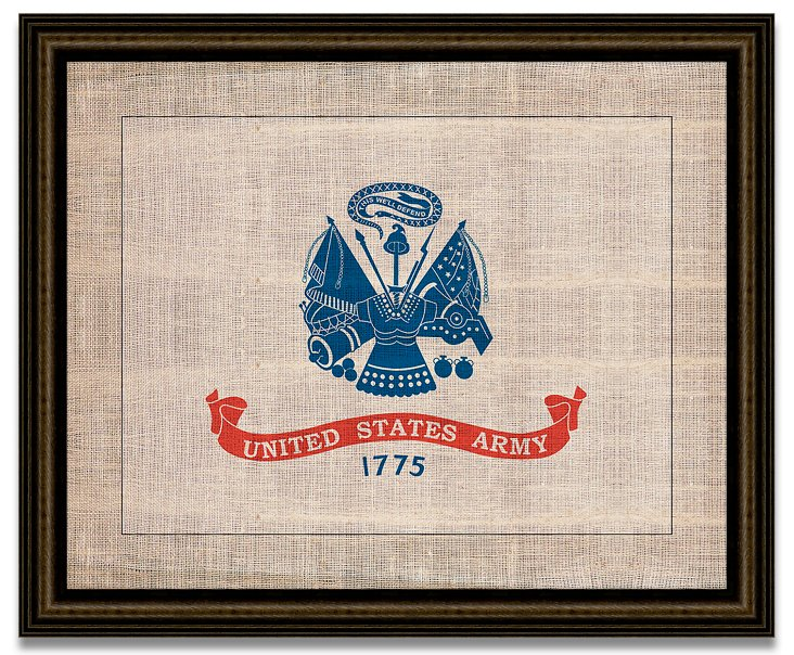 Army Flag on Antique Burlap