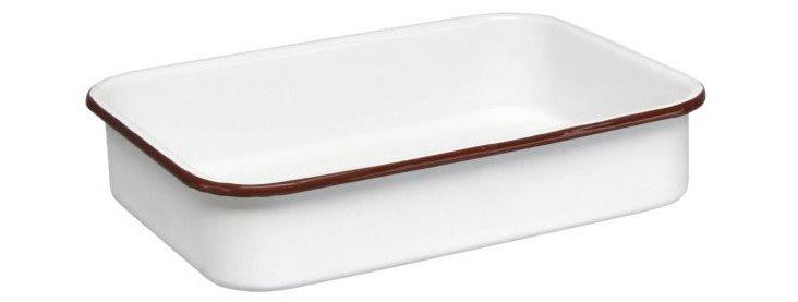 Enamel Steel Open Roaster, White