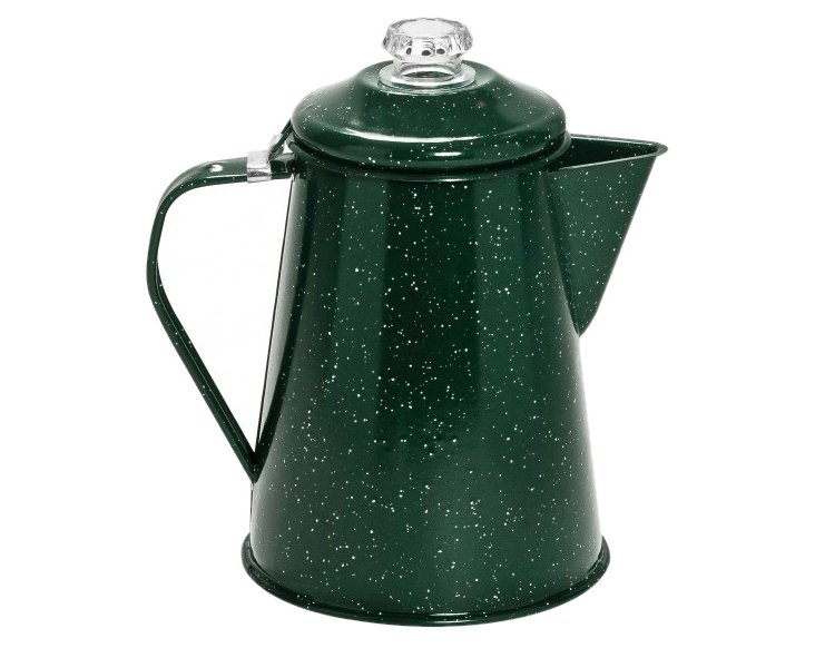 Speckled Enamel Coffee Pot, Green