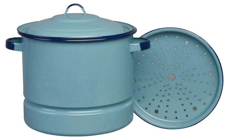 Medium Steamer with Lid and Trivet, Blue