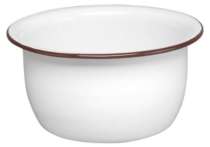 S/2 Enamel Steel Salad Bowls, White