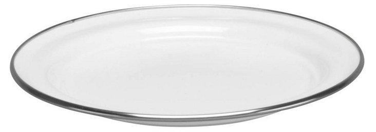 S/4 Enamel Steel Salad Plates, White