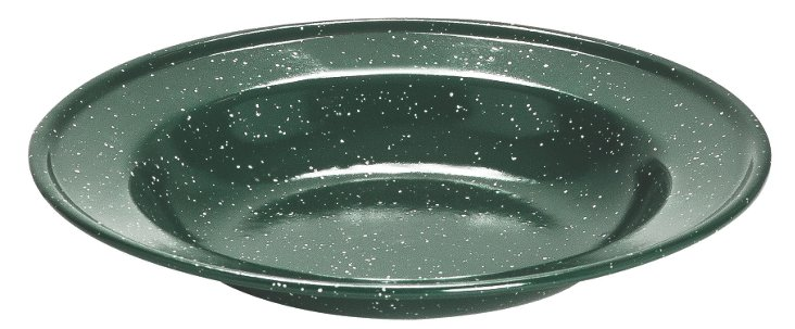 S/4 Small Soup Plates, Green Speckled