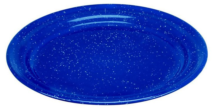 S/4 Speckled Enamel Dinner Plates, Blue