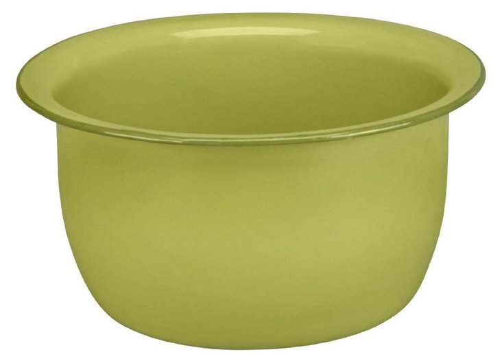 S/2 Enamel Steel Salad Bowls, Green