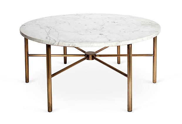 Brass & Marble Round Coffee Table