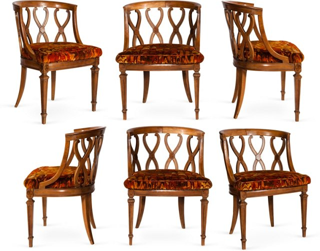 Curved-Back Side Chairs, Set of 6