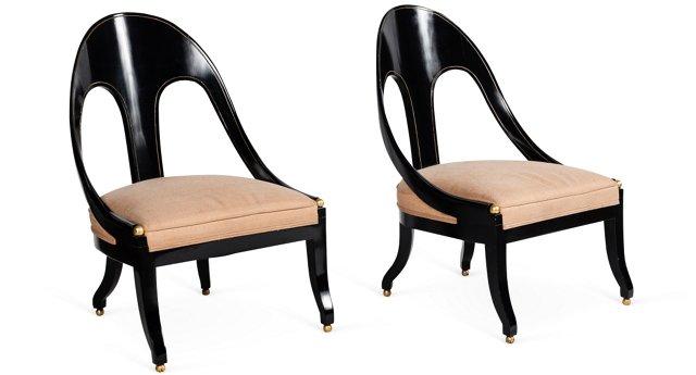 Black & Pink Slipper Chairs, Pair