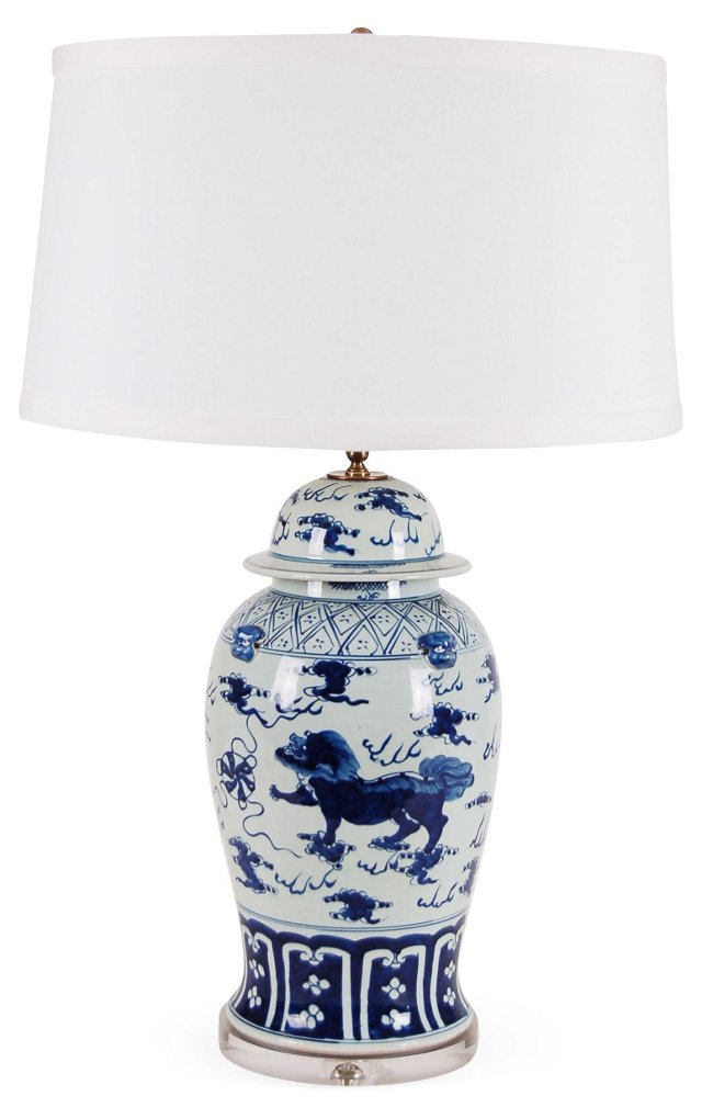 Kangxi Table Lamp, Blue Motif