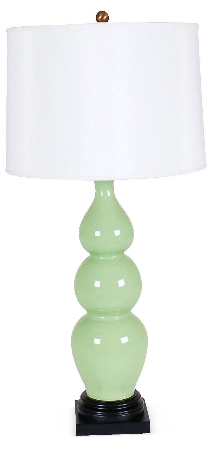 Triple Gourd Table Lamp, Green