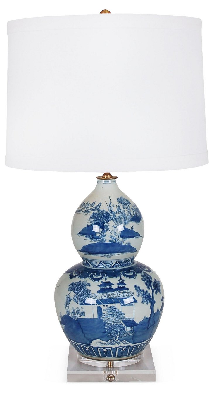 Ming Double Gourd Table Lamp, Blue