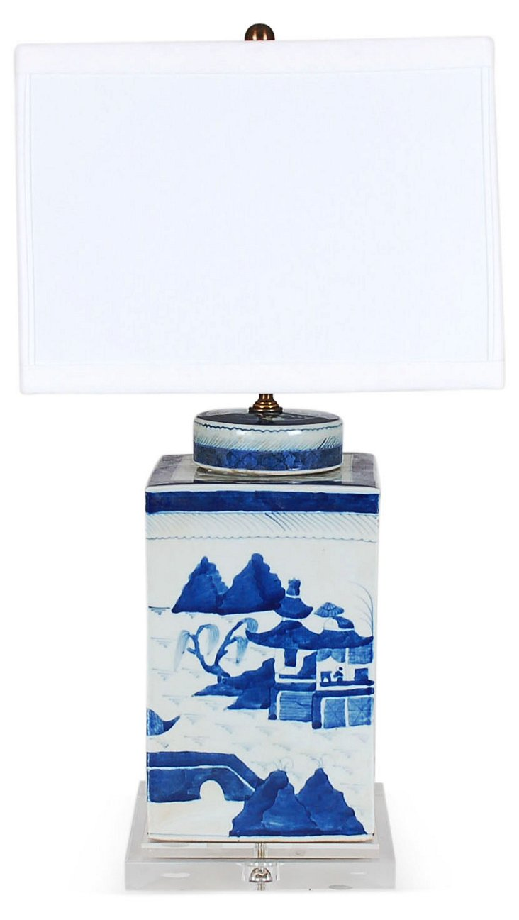 Canton Square Table Lamp, Blue/White