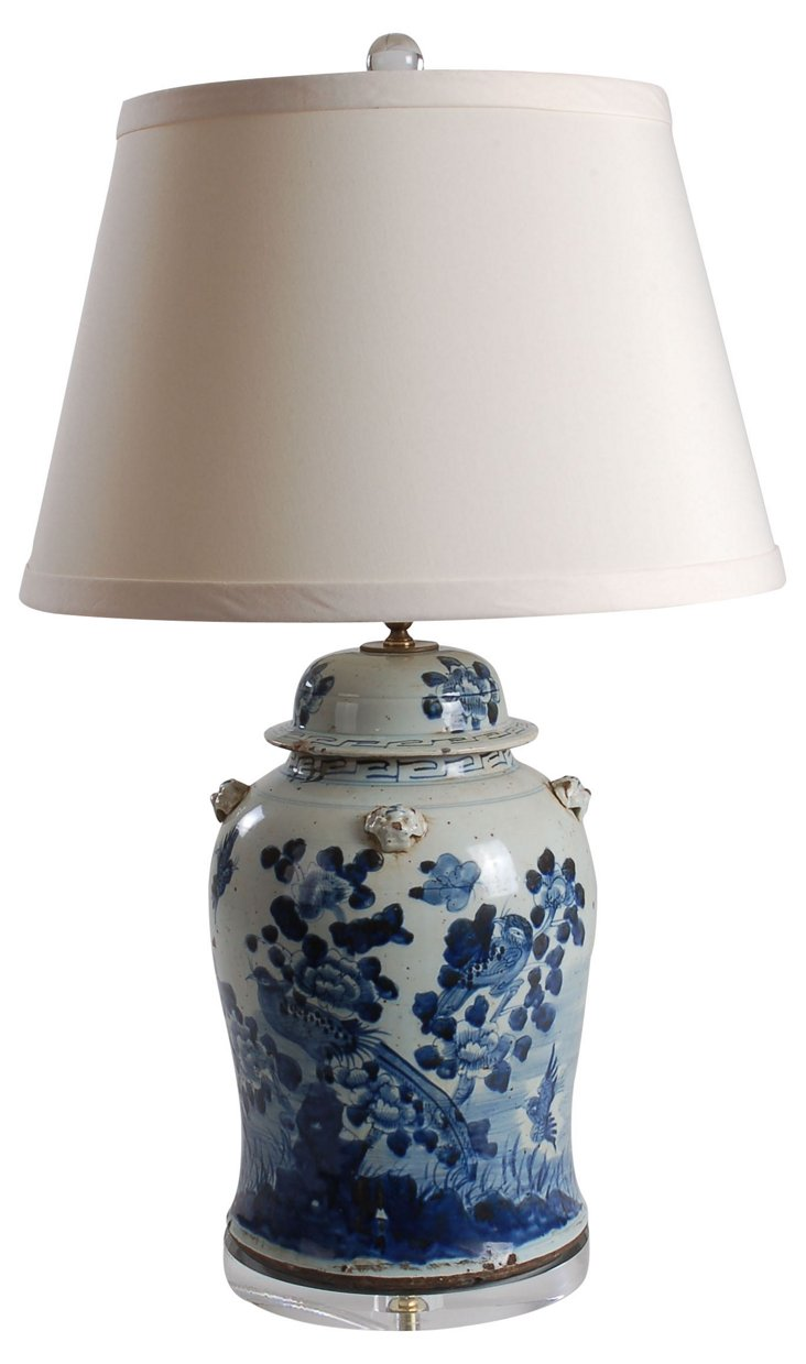 Flora Table Lamp, Blue/White