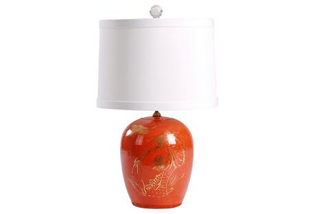 Mellon Jar Table Lamp, Rust
