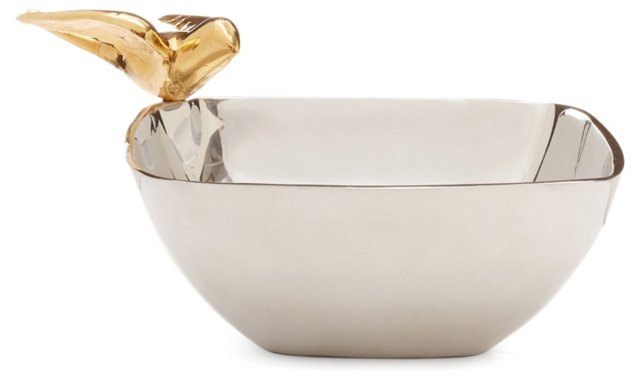 24K Gold-Plated Dove Salad Bowl