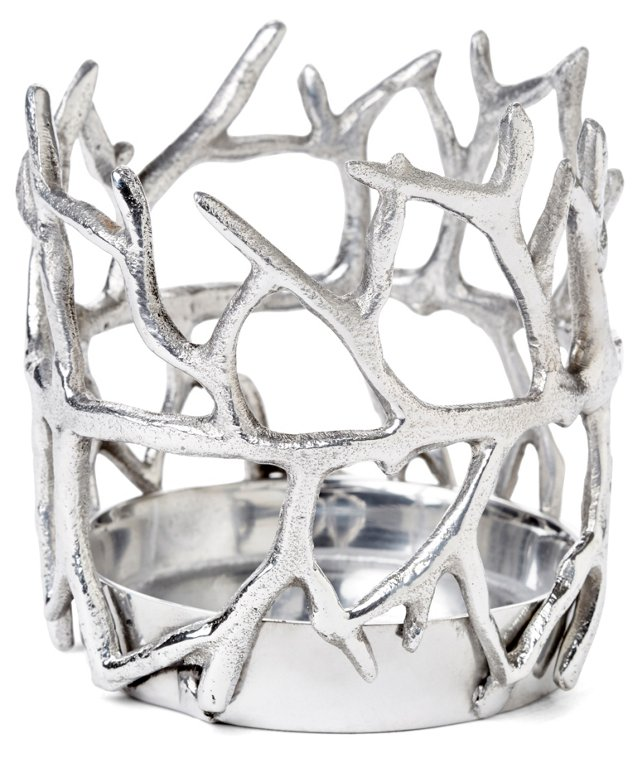 """4"""" Coral Candleholder, Silver"""