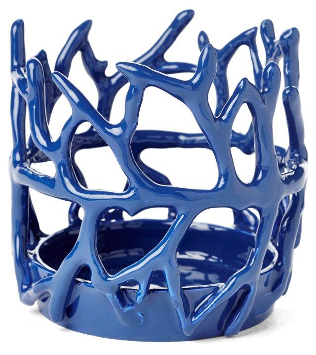 """4"""" Coral Candleholder, Blue"""