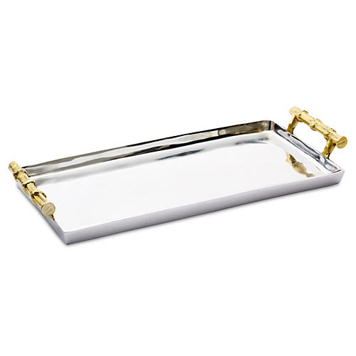 """17"""" Tray w/ Bamboo-Style Handles, Gold"""