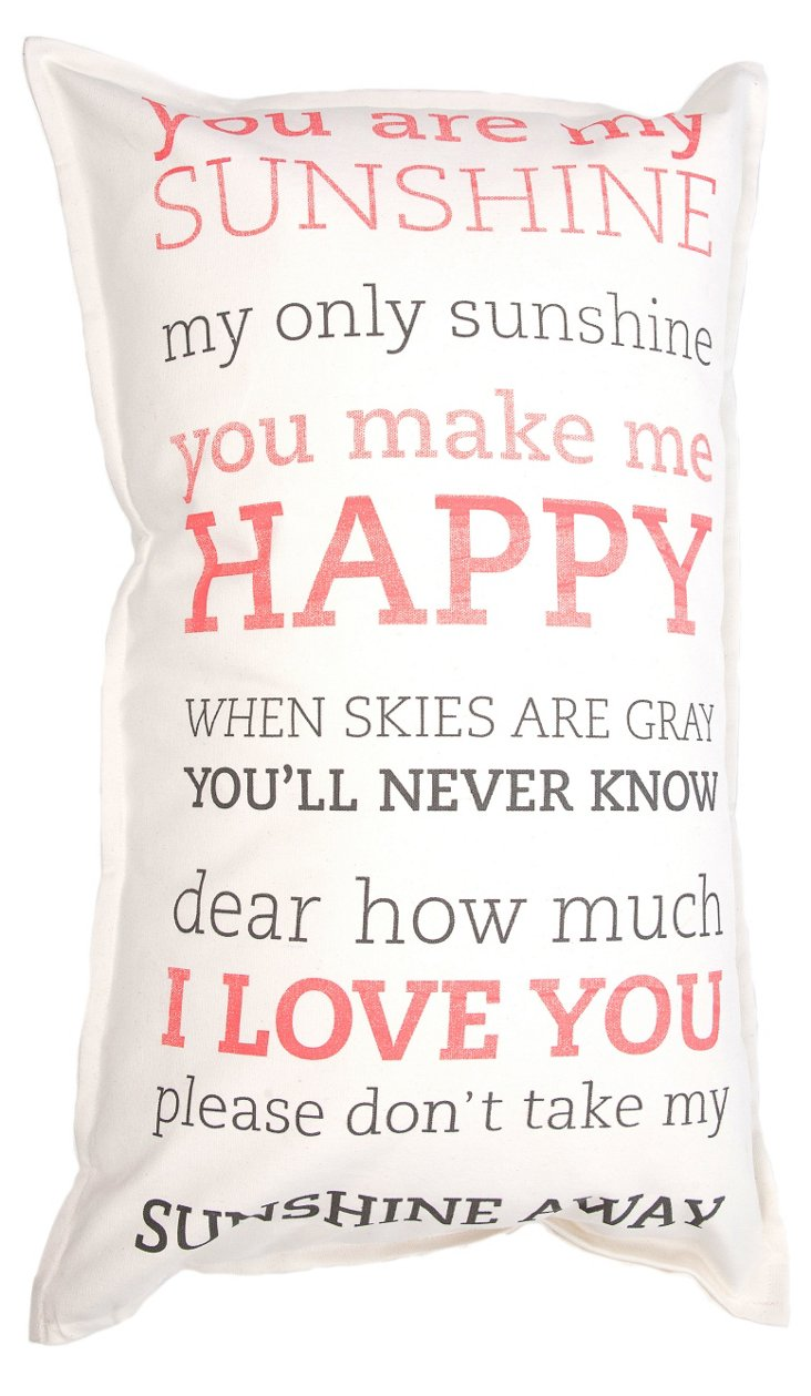 Sunshine 29x17 Pillow, White