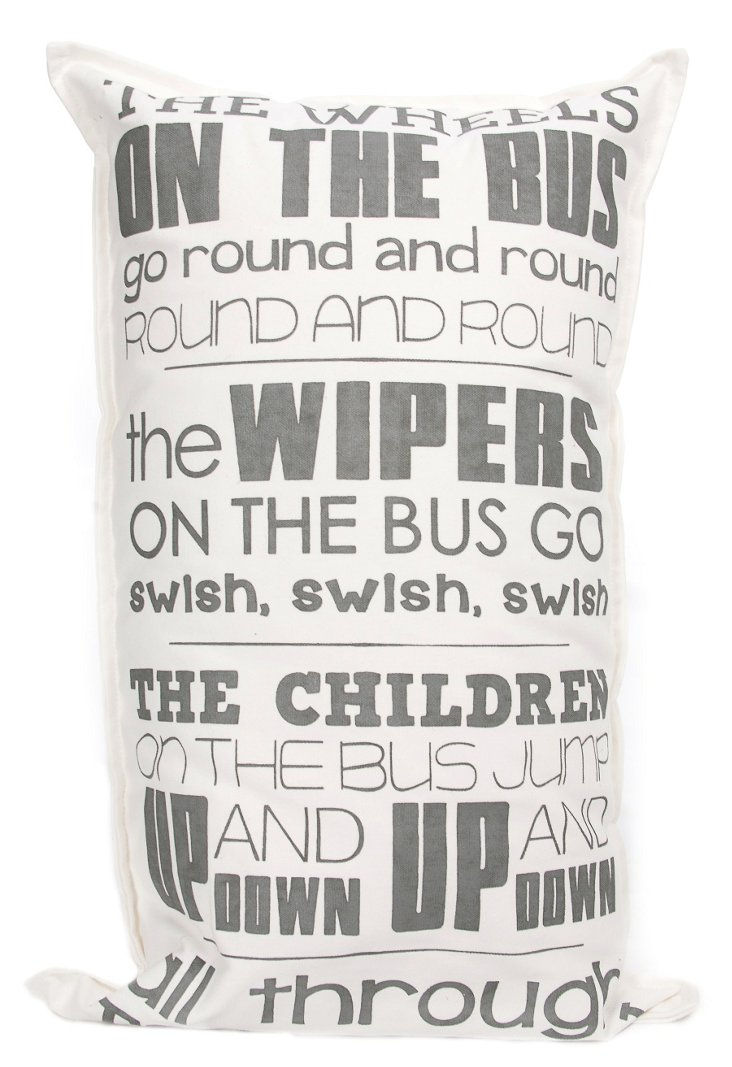 Wheels on the Bus 29x17 Pillow, Natural