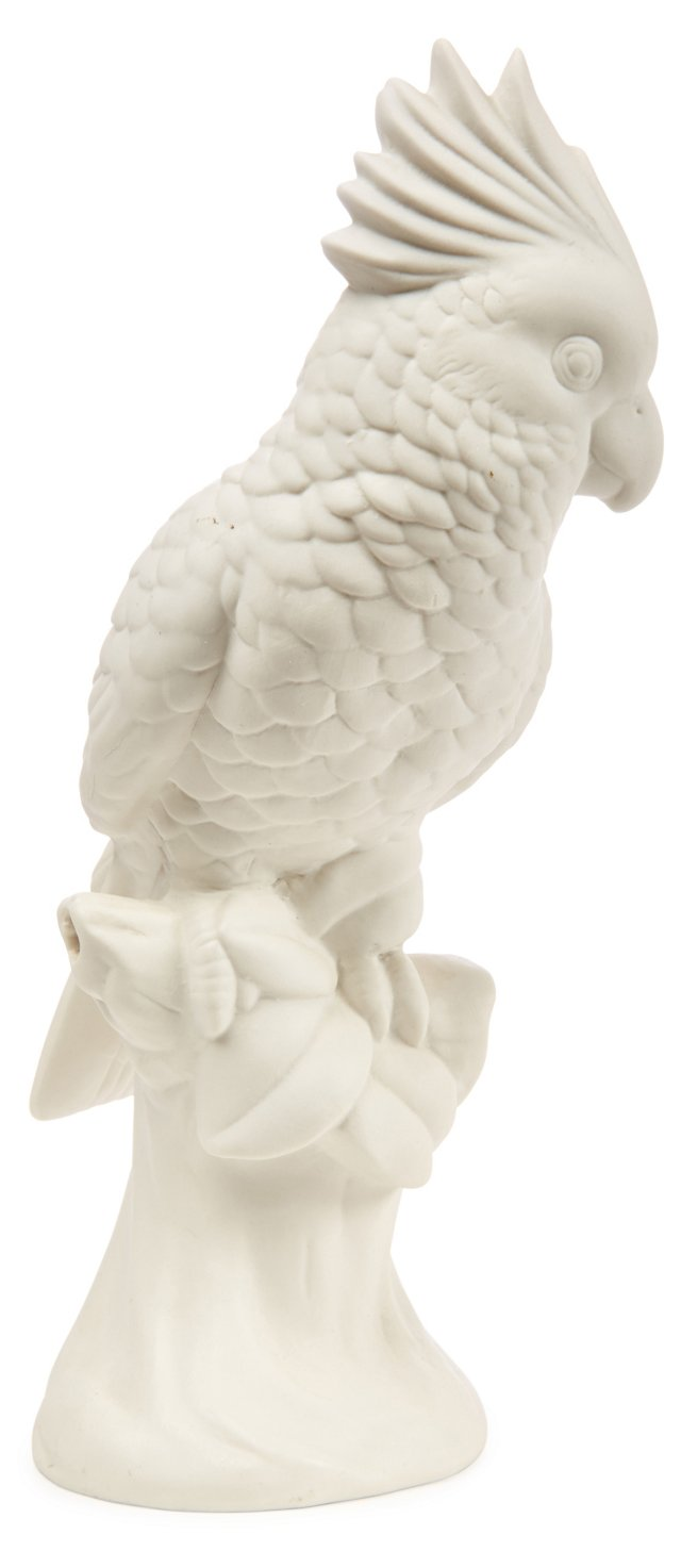 """12"""" Crested Parrot, White"""