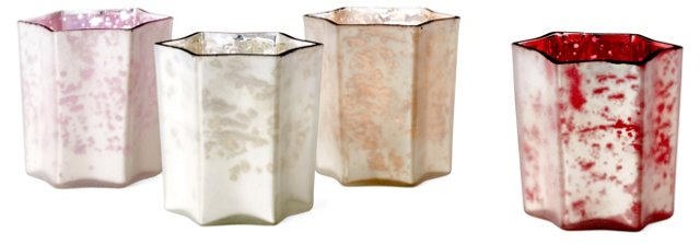 "Asst. of 4 3"" Zara Star Frosted Votives"