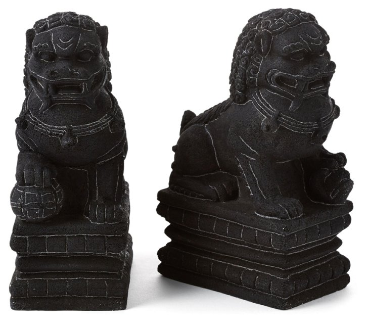 "Asst. of 2 7"" Volcanic Sitting Foo Dogs"