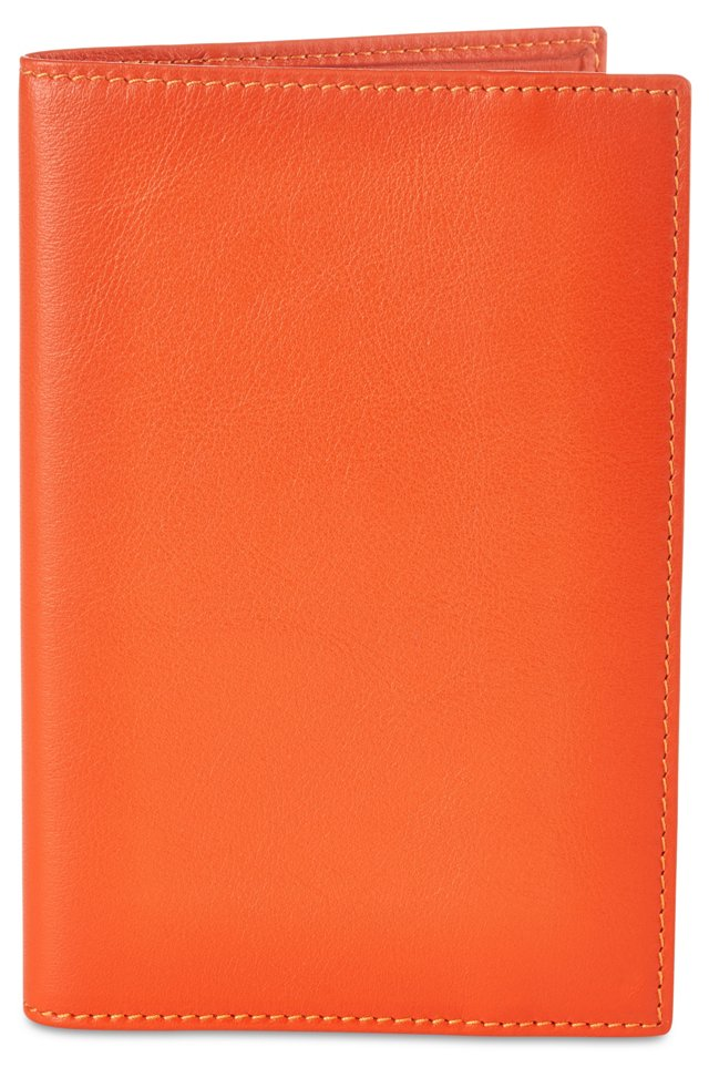 Classica Leather Passport Holder, Orange