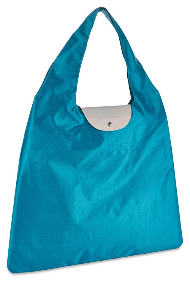 Nylon/Leather Foldable Bag, Turquoise