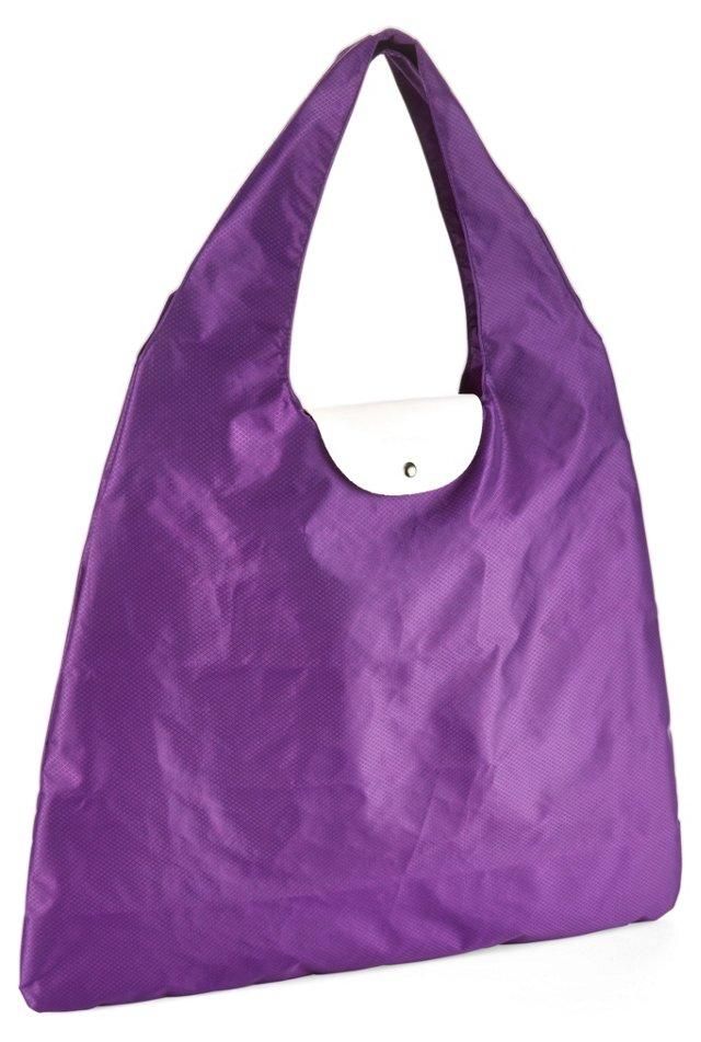 Nylon/Leather Foldable Bag, Violet