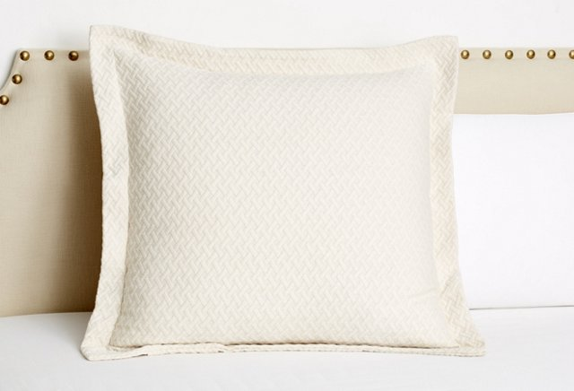 Lattice Matelassé Euro Sham, Ivory